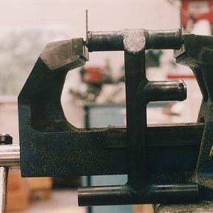 Rudder pedal in vise
