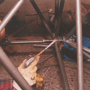 welding engine mount spool in place