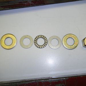 Washers, nut, and bearing