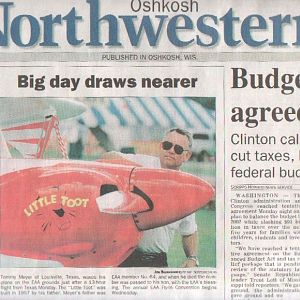 Toot on Front Page of Oshkosh Newspaper