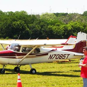Cessna 172 amidst tents and Citabria - 2012 National Biplane Fly In, Junction City, KS