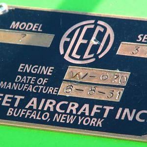 Fleet Model 7 dataplate