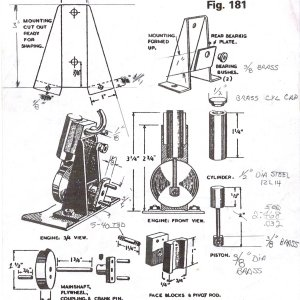 """Small diagram of an oscillating steam engine from Vic Smeed's book """"Model Boating"""""""