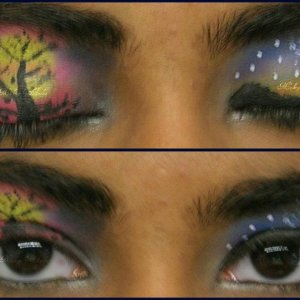 Scenery Makeup :) I like to get creative. It would look nice in a photo shoot I think :D........... You can visit my page on facebook too ^_^ https://