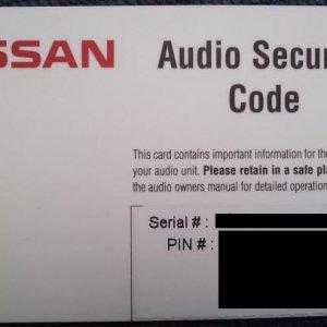 Nissan Navara Radio PIN Card