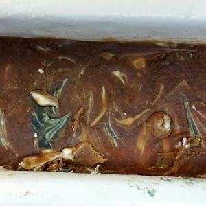 My 9th soap - HP with Henna and Indigo powder colors