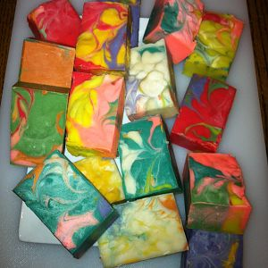 My new nine color swirl soap.