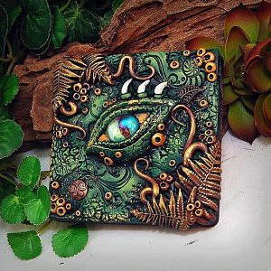 OOAK Polymer Clay Dragon Eye Grün & Braun 3 Dimensionale