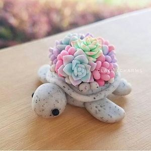 ClayBieCharms Polymer Clay Seaturtle Kawaii Succulents
